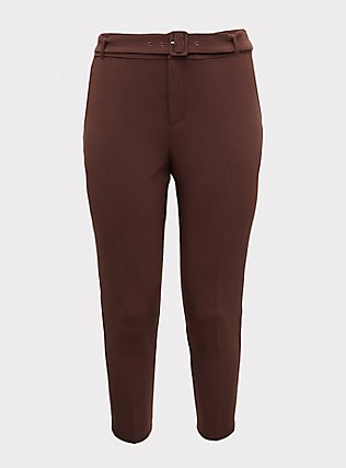 Plus Size Stretch Woven Belted Straight Leg Trouser Pant - Raisin Brown, BROWN, flat