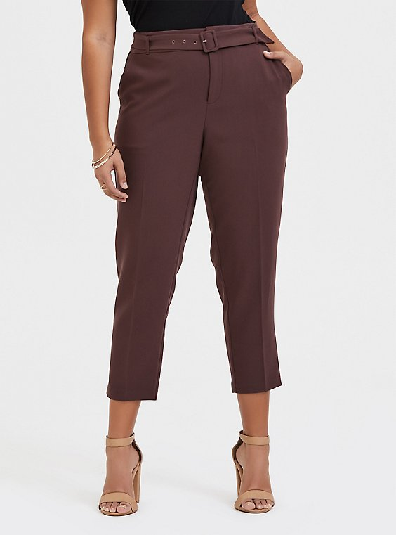 Stretch Woven Belted Straight Leg Trouser Pant - Raisin Brown, BROWN, hi-res