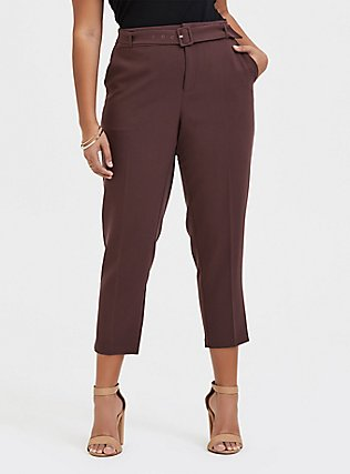 Plus Size Stretch Woven Belted Straight Leg Trouser Pant - Raisin Brown, BROWN, hi-res