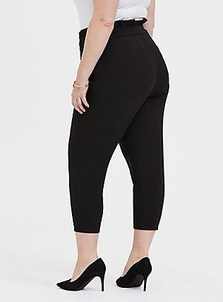 Stretch Woven Paperbag Trouser Pant - Black, DEEP BLACK, alternate