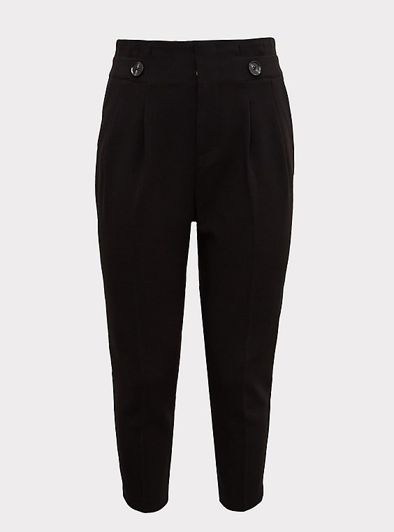 Stretch Woven Paperbag Trouser Pant - Black, , flat