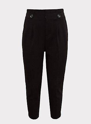 Stretch Woven Paperbag Trouser Pant - Black, DEEP BLACK, flat