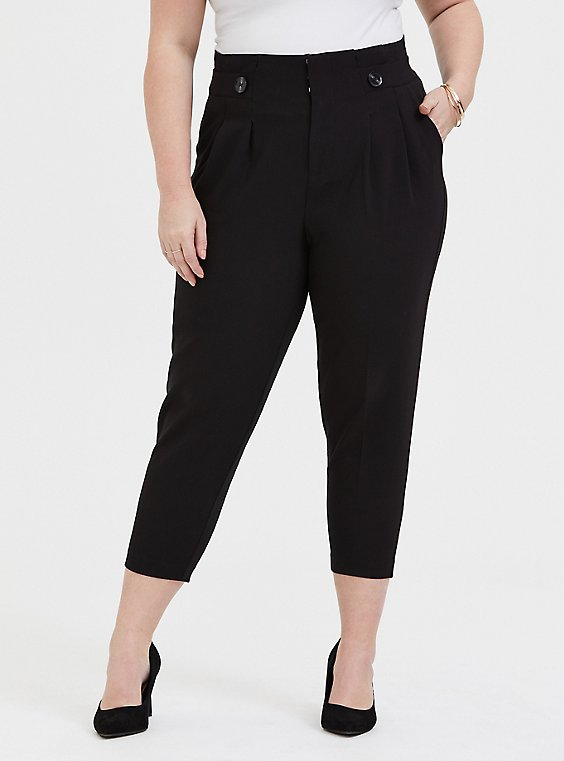 Stretch Woven Paperbag Trouser Pant - Black, , hi-res