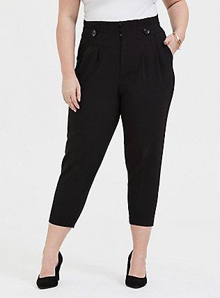 Stretch Woven Paperbag Trouser Pant - Black, DEEP BLACK, hi-res