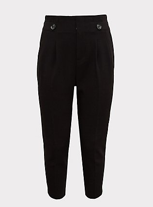 Stretch Woven Paperbag Trouser Pant - Black, DEEP BLACK, ls