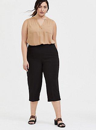 Plus Size Black Structured Woven Culotte Trouser, DEEP BLACK, alternate
