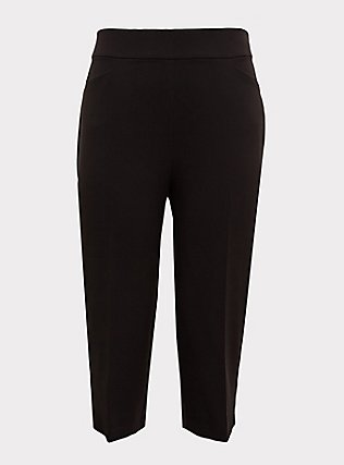 Black Structured Woven Culotte Trouser, DEEP BLACK, flat
