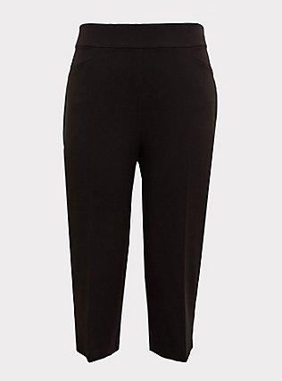Plus Size Black Structured Woven Culotte Trouser, DEEP BLACK, flat