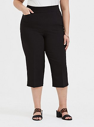 Plus Size Black Structured Woven Culotte Trouser, DEEP BLACK, hi-res