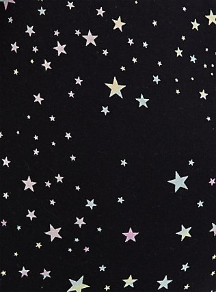 Plus Size Black Multi-Color Star French Terry Drawstring Jogger, STARPRNT, alternate