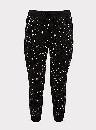 Plus Size Black Multi-Color Star French Terry Drawstring Jogger, STARPRNT, flat