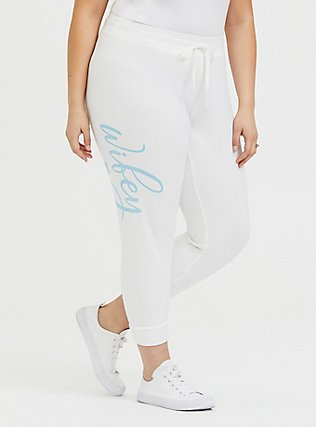 Wifey White Terry Drawstring Jogger, GREY, alternate