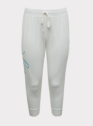 Plus Size Wifey White Terry Drawstring Jogger, GREY, flat
