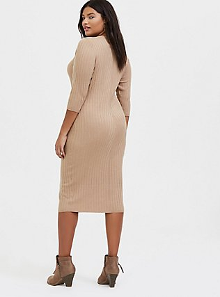 Beige Textured Sweater-Knit Bodycon Midi Dress, , alternate