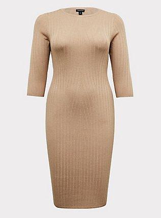 Beige Textured Sweater-Knit Bodycon Midi Dress, , flat