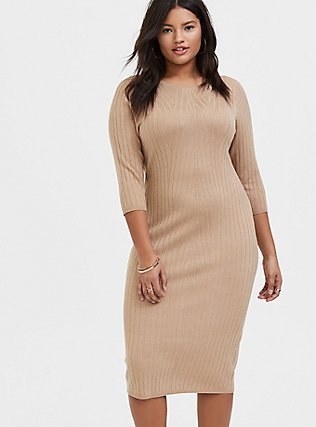 Plus Size Beige Textured Sweater-Knit Bodycon Midi Dress, , hi-res