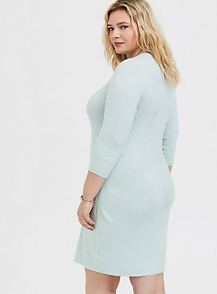 Plus Size Mint Green Textured Sweater-Knit Bodycon Dress, , alternate