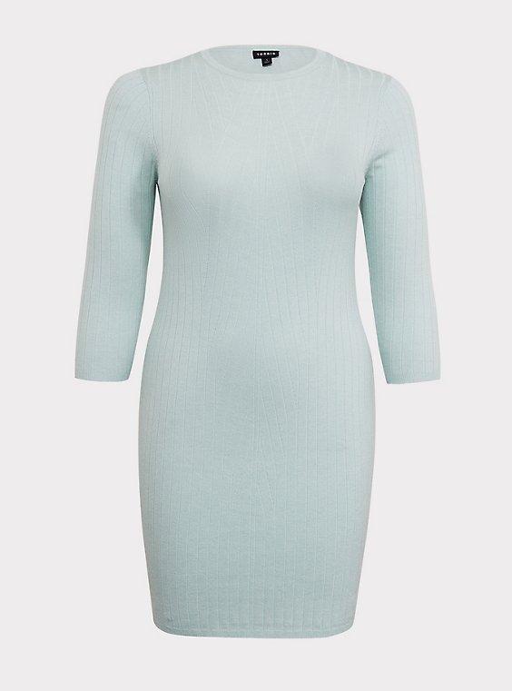 Mint Green Textured Sweater-Knit Bodycon Dress, , flat