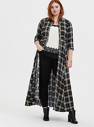 Black Plaid Challis Button Front Maxi Shirt Dress, , alternate