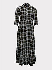 Black Plaid Challis Button Front Maxi Shirt Dress, , hi-res