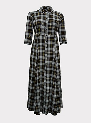 Black Plaid Challis Button Front Maxi Shirt Dress, , flat