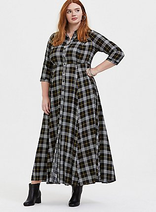 Black Plaid Challis Button Front Maxi Shirt Dress, , hi-res