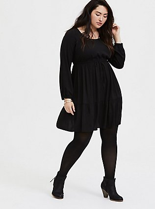 Plus Size Black Challis Drawstring Skater Dress, , alternate