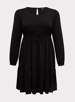 Plus Size Black Challis Drawstring Skater Dress, , flat