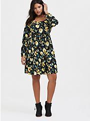 Black & Yellow Floral Challis Drawstring Skater Dress, , alternate