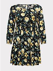 Black & Yellow Floral Challis Drawstring Skater Dress, , hi-res