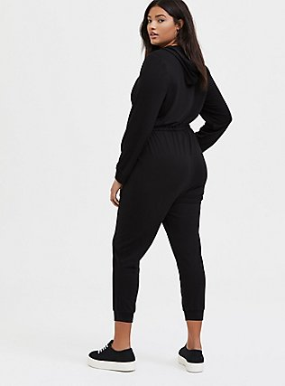 Plus Size Black Terry Zip Front Hooded Jumpsuit , , alternate