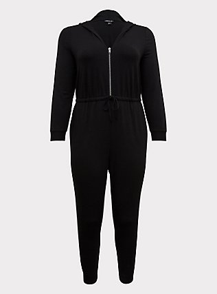 Plus Size Black Terry Zip Front Hooded Jumpsuit , , flat