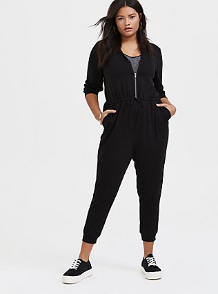 Plus Size Black Terry Zip Front Hooded Jumpsuit , , hi-res