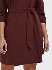 Raisin Brown French Terry Self Tie Shift Dress, , alternate