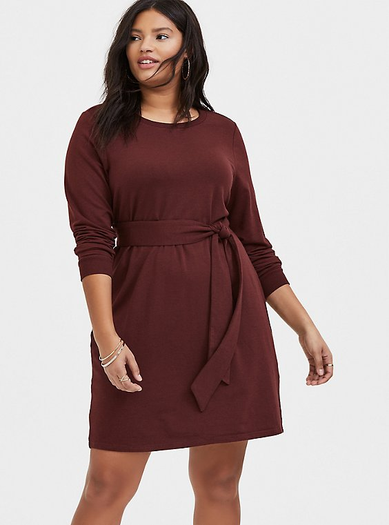 Raisin Brown French Terry Self Tie Shift Dress, , hi-res