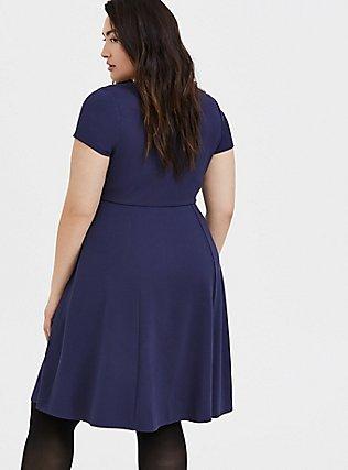 Navy Premium Ponte Sweetheart Skater Dress, , alternate
