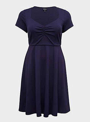 Navy Premium Ponte Sweetheart Skater Dress, , flat