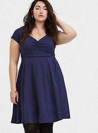 Navy Premium Ponte Sweetheart Skater Dress, , hi-res