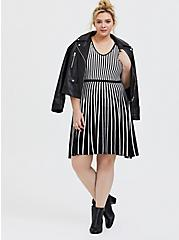 Black & White Stripe Sweater-Knit Skater Dress, , alternate