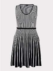Black & White Stripe Sweater-Knit Skater Dress, , hi-res