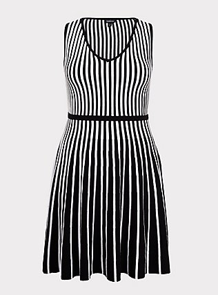 Plus Size Black & White Stripe Sweater-Knit Skater Dress, , flat