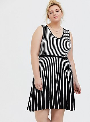 Plus Size Black & White Stripe Sweater-Knit Skater Dress, , hi-res