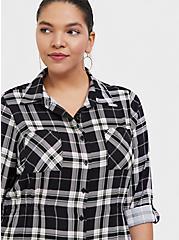 Black & Lime Green Plaid Challis Button Front Midi Shirt Dress, , alternate