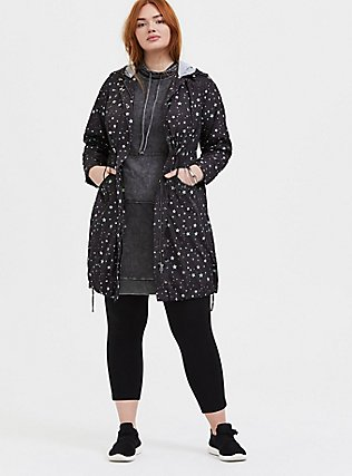 Black French Terry Mineral Wash Hoodie Dress, , alternate