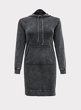 Black French Terry Mineral Wash Hoodie Dress, , flat