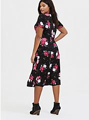 Black Floral Challis Button Midi Dress, , alternate