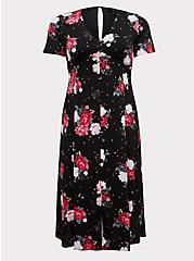 Black Floral Challis Button Midi Dress, , hi-res