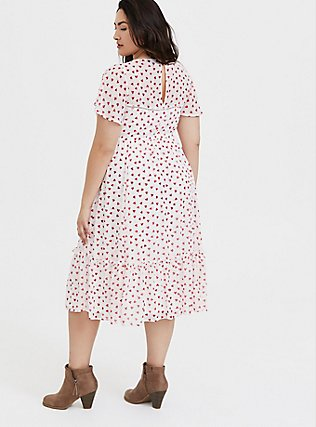 White & Red Heart Chiffon Midi Dress, , alternate
