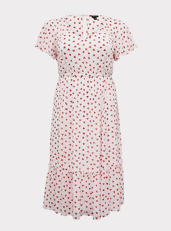 White & Red Heart Chiffon Midi Dress, , flat