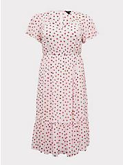 White & Red Heart Chiffon Midi Dress, , hi-res
